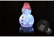 Schneemann Acryl 20 LED weiß Timer Weihnachtsbeleuchtung 32 cm Batterie Xmas