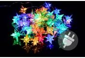 40 LED Sternenlichterkette bunt Trafo Timer transparentes Kabel Weihnachtsdeko