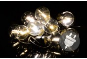 LED Partylichterkette mit 10 Glaskugeln warm-weißPartybeleuchtung Partydeko