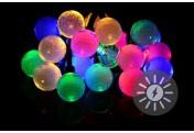 20 LED Solarlichterkette Ball bunt Blinkfunktion Bälle Gartenbeleuchtung