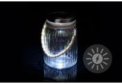 Solarglas mit 3 LED weiß mit Aufhänger Glas Gartenbeleuchtung