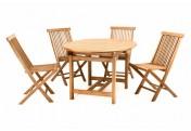 DIVERO Set Gartenmöbel Sitzgruppe Esstisch ausziehbar 4 Stühle Teakholz
