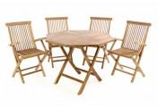 DIVERO Set Gartenmöbel Terrassenmöbel Sitzgruppe Teakholz Tisch Ø100cm