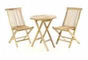 DIVERO Gartenmöbel Sitzgruppe Garnitur Tisch achteckig Ø60cm Teak Holz natur