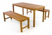 DIVERO Sitzgruppe Gartenmöbel Bierzelt Garnitur Teak Holz behandelt 150cm