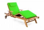 DIVERO Sonnenliege Gartenliege Tablett Teak Holz behandelt Auflage hellgrün