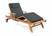 DIVERO Sonnenliege Gartenliege Tablett Teak Holz behandelt Auflage anthrazit
