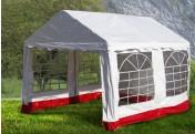 Hochwertiges Festzelt Partyzelt Pavillon 3x4 m weiß rot PVC Dach wasserdicht