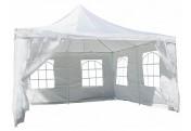 Partyzelt Pavillon Zelt Festzelt creme 4 x 4m Polyester Dach wasserdicht 250 g/m²