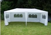 Pavillon 3x6 m in weiß PE Plane + Seitenteile Partyzelt Gartenzelt Sonnenschutz