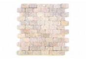 DIVERO 1 Fliesenmatte Stein Mosaik Marmor Wand Boden beige weiß 29x32cm