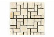 DIVERO 11 Fliesenmatten Marmor Mosaik römischer Verband cremeweiß á 30 x 30 cm