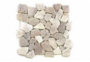 DIVERO 11 Fliesenmatten Naturstein Mosaik Flussstein creme á 32 x 32