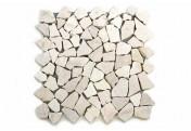DIVERO 1 Fliesenmatte Bruchsteinmosaik Marmor cremeweiß á 35x35cm