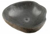 DIVERO Aufsatzwaschbecken Waschtisch Vulkanstein Andesit grau Ø33-45cm