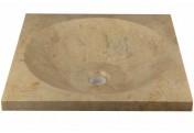 """DIVERO Aufsatzwaschbecken Handwaschbecken """"Salerno"""" Marmor 45x45cm"""