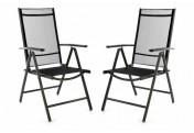 2er Set Klappstuhl Alu Textilene schwarz Rahmen dunkelgrau Gartenstuhl Camping