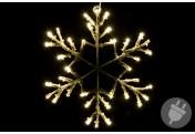 Schneeflocke mit Schneeoptik 36 LED warm weiß Trafo Timer 30 cm Fensterbild Xmas