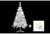 Weihnachtsbaum weiß mit Glitzereffekt 120 cm mit Ständer + 100 LED Lichterkette