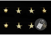 2er Set - 10 LED Lichterkette PVC Sterne gold warm weiß Batterie Durchm. 7 cm