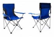 2er Set Campingstuhl Faltstuhl blau grau mit Armlehne Getränkehalter Angelstuhl