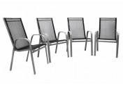 4er Set C-Ware Gartenstuhl Stapelstuhl Stapelsessel Rahmen grau Textilene schwarz