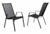2er Set Gartenstuhl Stapelstuhl Hochlehner Rahmen dunkelgrau Textilene schwarz