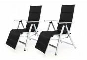2er Set DELUXE Alu Liegestuhl Klappstuhl gepolstert Sonnenliege Camping schwarz