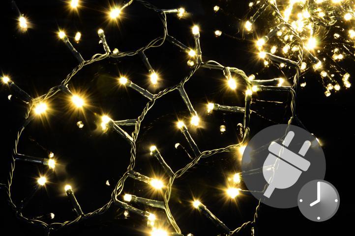60 LED Eiszapfenkette Lichterkette warmweiß Beleuchtung Weihnachten Trafo Timer